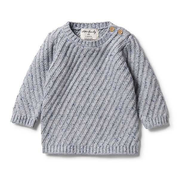 WILSON + FRENCHY | Knitted Jacquard Jumper Navy Peony Fleck
