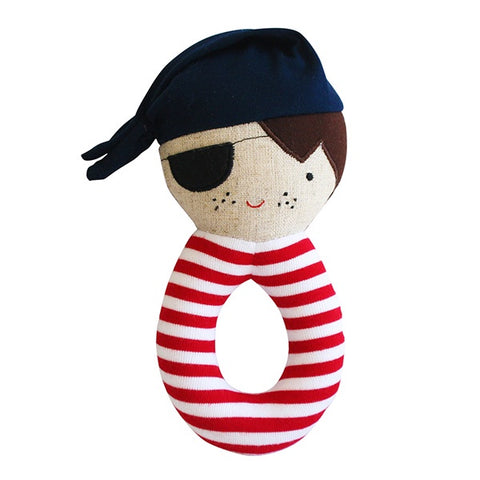 Alimrose Linen Pirate Grab Rattle - Navy