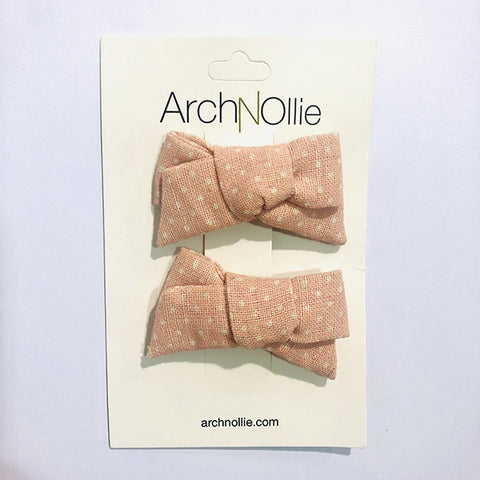 ARCH N OLLIE | August Linen Piggy Clips Baby Pink Small Polka