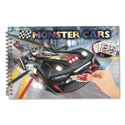 MONSTER CARS | Pocket Colouring/Activity Book
