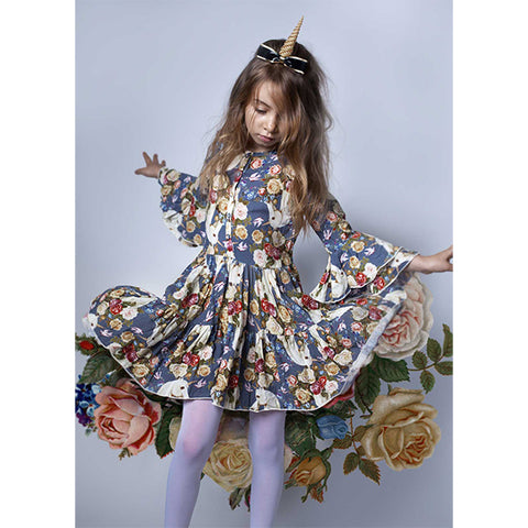 **PRE ORDER** PAPER WINGS | Bell Sleeve Frilled Dress Rose Unicorn Blue