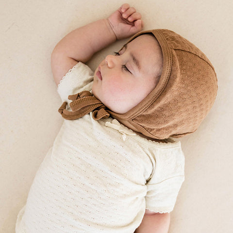 QUINCY MAE | Pointelle Baby Bonnet Copper