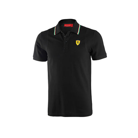 MENS ITALIAN COLLAR POLO SHIRT Black