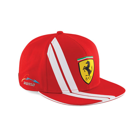 TWO COLORS ALONSO FLAT BRIM CAP Red - White