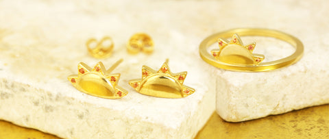 sun ring and sun ear studs