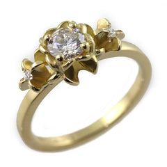 Flower Engagement Ring - 18ct Yellow Gold with Diamonds by Jana Reinhardt Jewellery