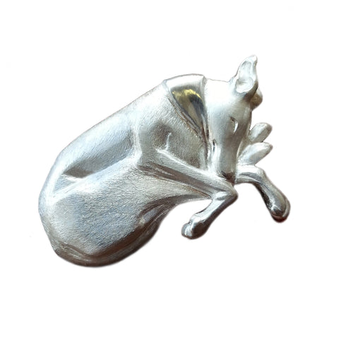 Sleeping Greyhound brooch in silver