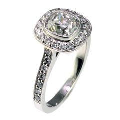 Cushion Cut Engagement Rings in Platinum with Diamonds by Jana Reinhardt Jewellery