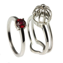 Ruby Engagement Rings - Bird Cage Style Ring by Jana Reinhardt Jewellery, London, UK