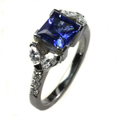 Engagement Ring with Sapphire - Platinum and Diamonds Ring by Jana Reinhardt Jewellery