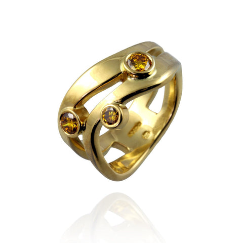 22ct Yellow Gold and Yellow Diamonds Wave Ring
