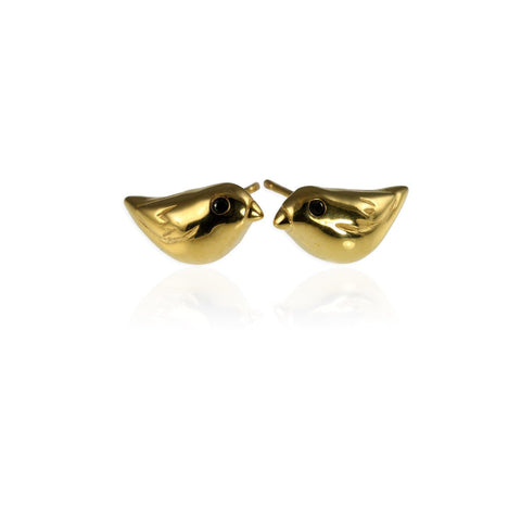 Gold Sparrow Ear Studs