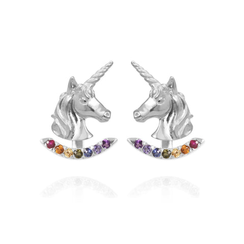 Unicorn Earrings with Rainbow Ear Jackets