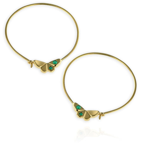 Butterfly Hoop Earrings with Emeralds