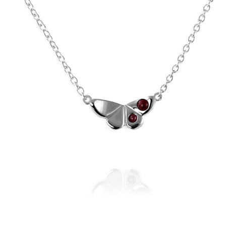 Butterfly Charm Necklace with Rubies