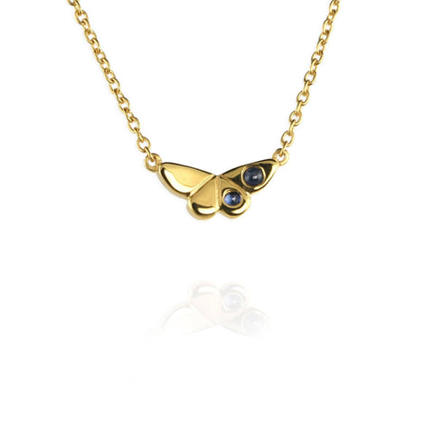 Butterfly Charm Necklace with Sapphires or Emeralds