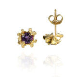 Small Rock Flower Ear Studs with Amethyst or Green Quartz - Jana Reinhardt Ltd - 5