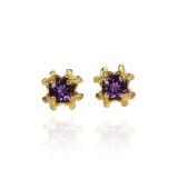Small Rock Flower Ear Studs with Amethyst or Green Quartz - Jana Reinhardt Ltd - 4