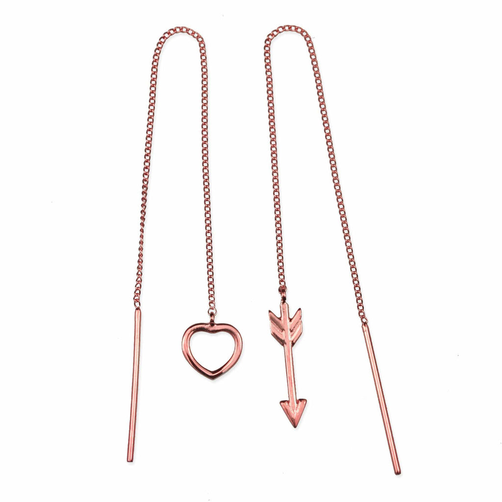 Heart & Arrow Chain Earrings