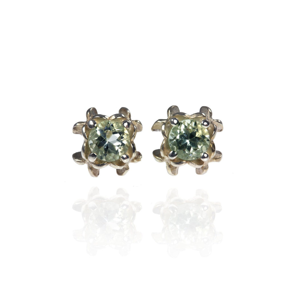 Small Rock Flower Ear Studs with Amethyst or Green Quartz - Jana Reinhardt Ltd - 1