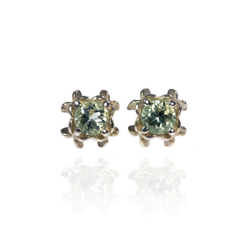 Small Rock Flower Ear Studs with Amethyst or Green Quartz