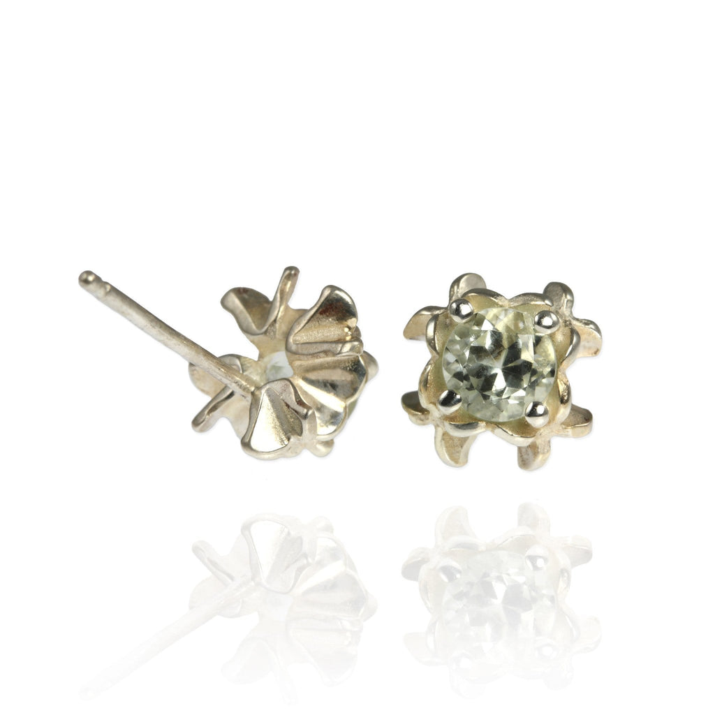 Small Rock Flower Ear Studs with Amethyst or Green Quartz - Jana Reinhardt Ltd - 3