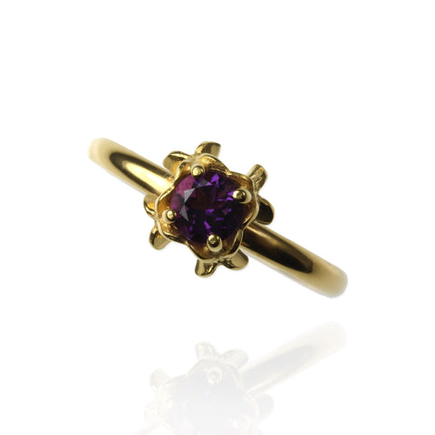 Small Rock Flower Ring with Amethyst