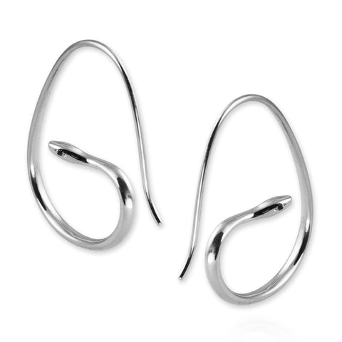 Snake Hoop Earrings with black diamonds