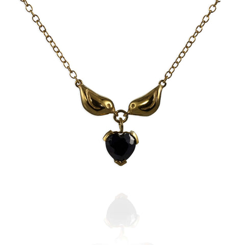 Gold Sparrow Heart Necklace
