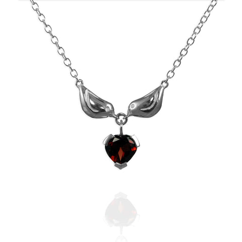 Silver Sparrow Heart Necklace
