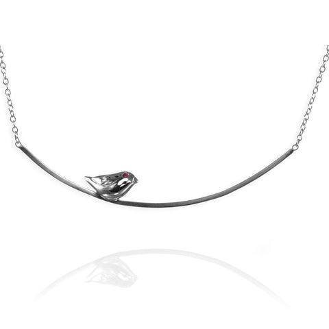 Silver Sparrow on a Branch Necklace