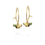 Butterfly Drop Earrings with Emerald - Jana Reinhardt Ltd - 1