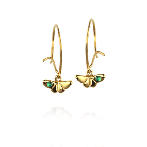 Butterfly Drop Earrings with Emerald