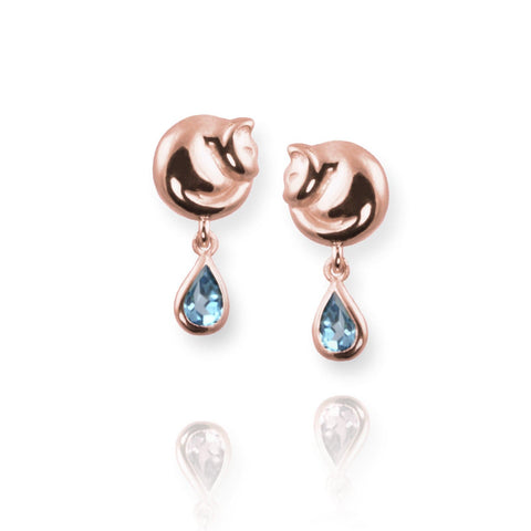 Cat Stud Earrings with blue topaz