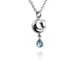 Tiny Cat Necklace with blue topaz drop - Jana Reinhardt Ltd - 3