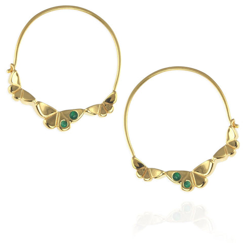 Gold Butterfly Earrings with Emeralds (Multi)
