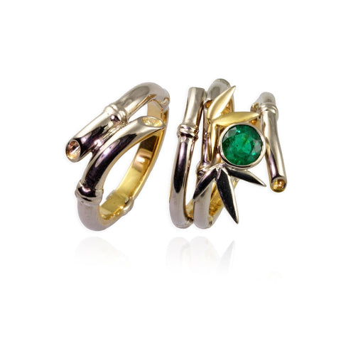 18ct Rose Gold and Emerald Bamboo Rings