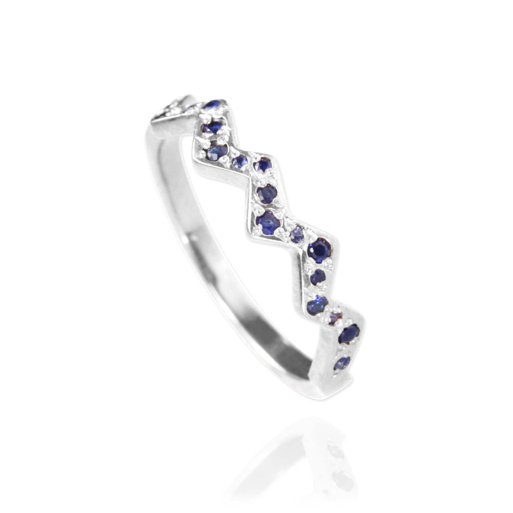 Flash Ring with Sapphires - wider version