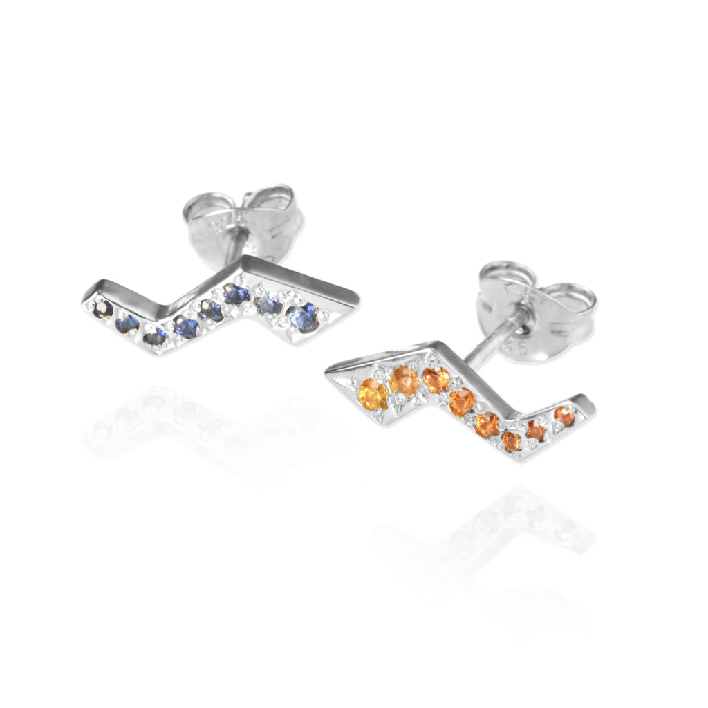 Flash Stud Earrings with Sapphires