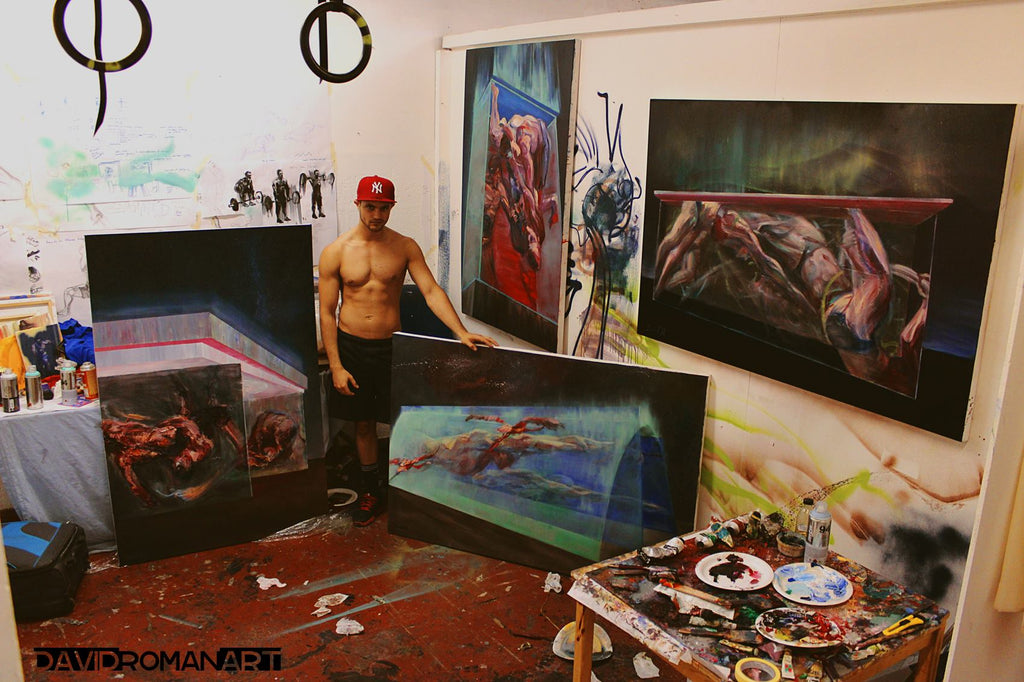 david roman art studio oil paintings contemporary movement art