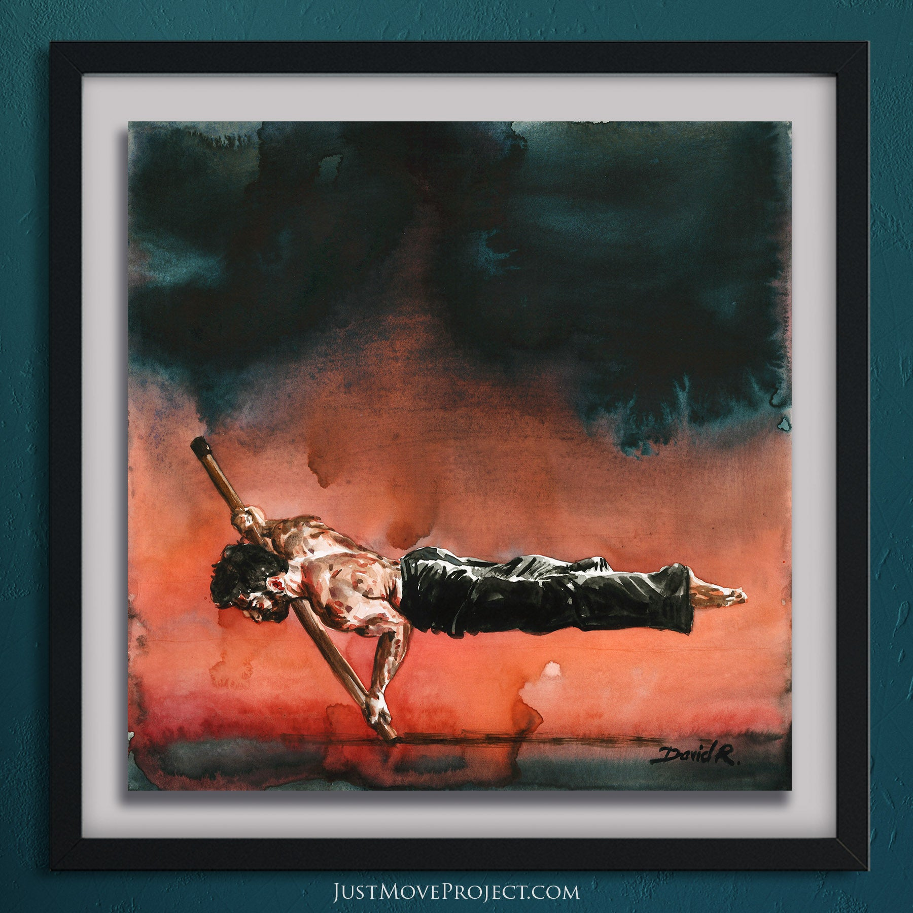 david roman art just move project 2 watercolour watercolor painting vibrant wall art home decor inspired by movement and athletes turquoise teal mauve orange deep blue acrobatic acrobat balance