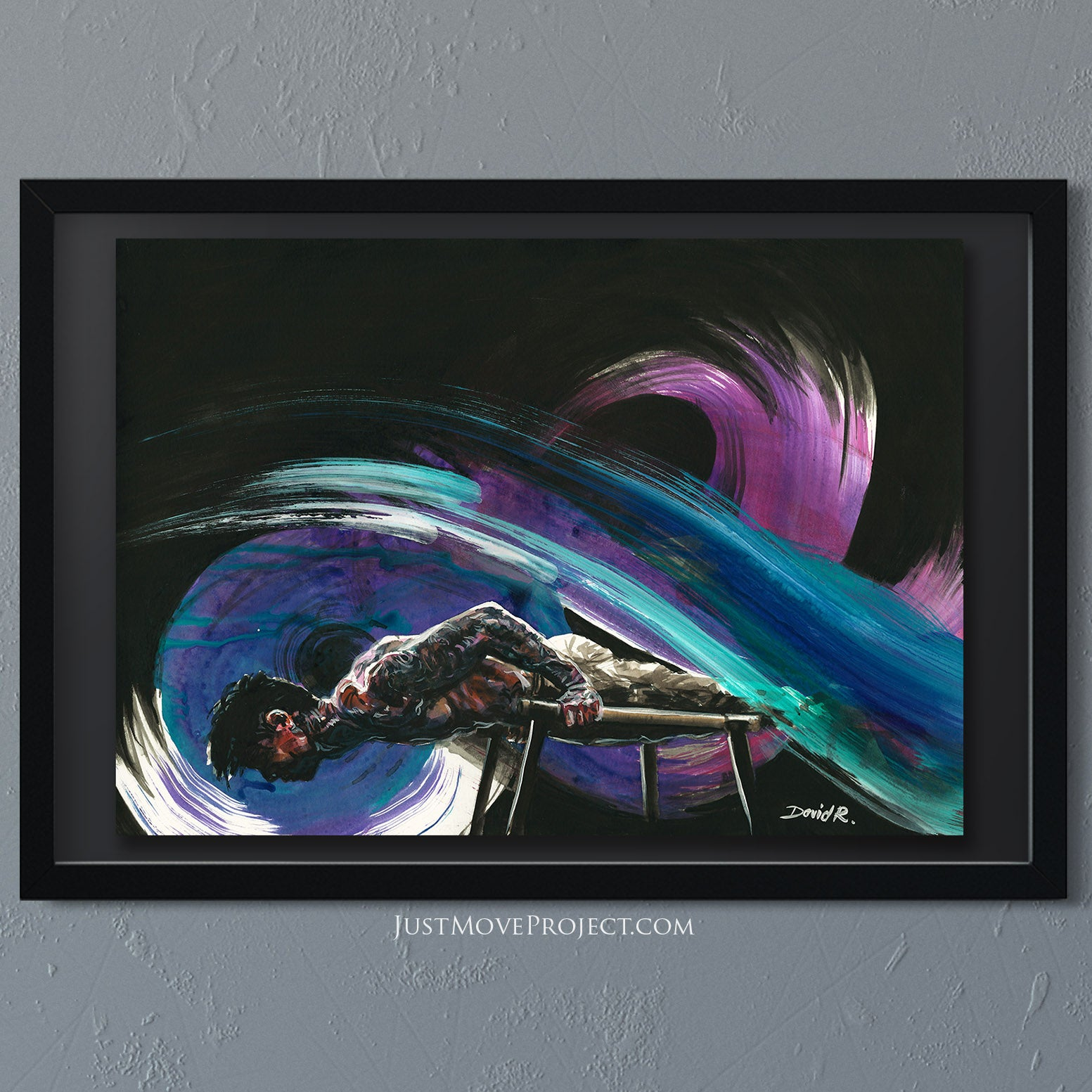 david roman art just move project 2 watercolour watercolor painting vibrant wall art home decor inspired by movement and athletes turquoise teal mauve chris heria street workout parkour energy