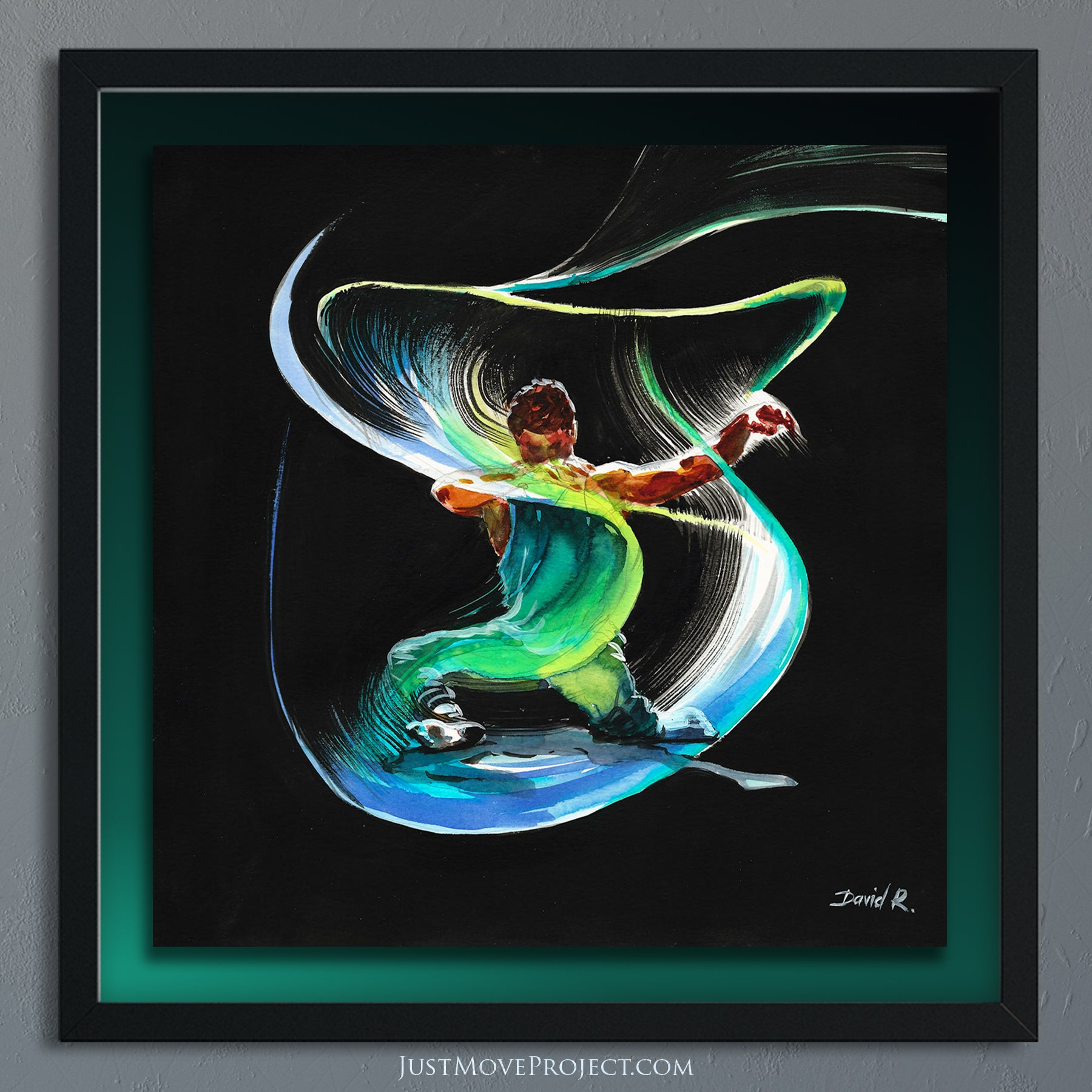 david roman art just move project 2 watercolour watercolor painting vibrant wall art home decor inspired by movement and athletes turquoise teal mauve jon yuen