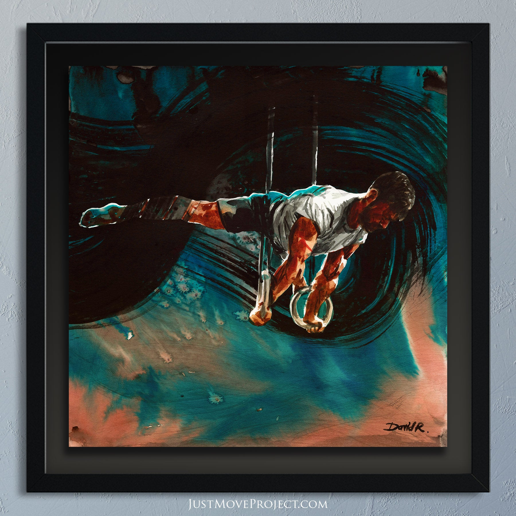 david roman art just move project 2 watercolour watercolor painting vibrant wall art home decor inspired by movement and athletes turquoise teal mauve dave durante gymnast rings teal rose orange