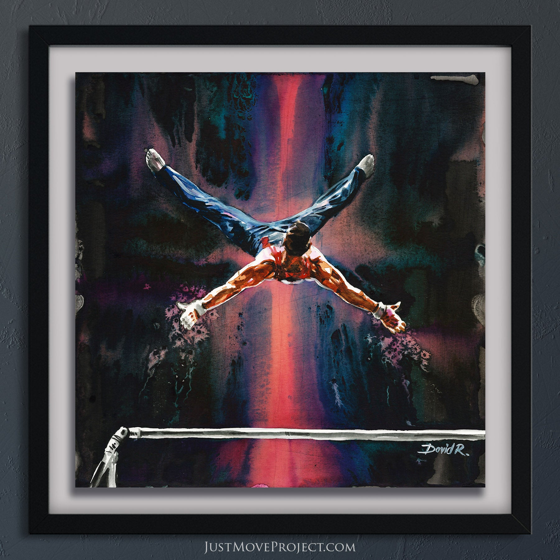 david roman art just move project 2 watercolour watercolor painting vibrant wall art home decor inspired by movement and athletes turquoise teal mauve olympic gymnast samuel mikulak gymnastics men