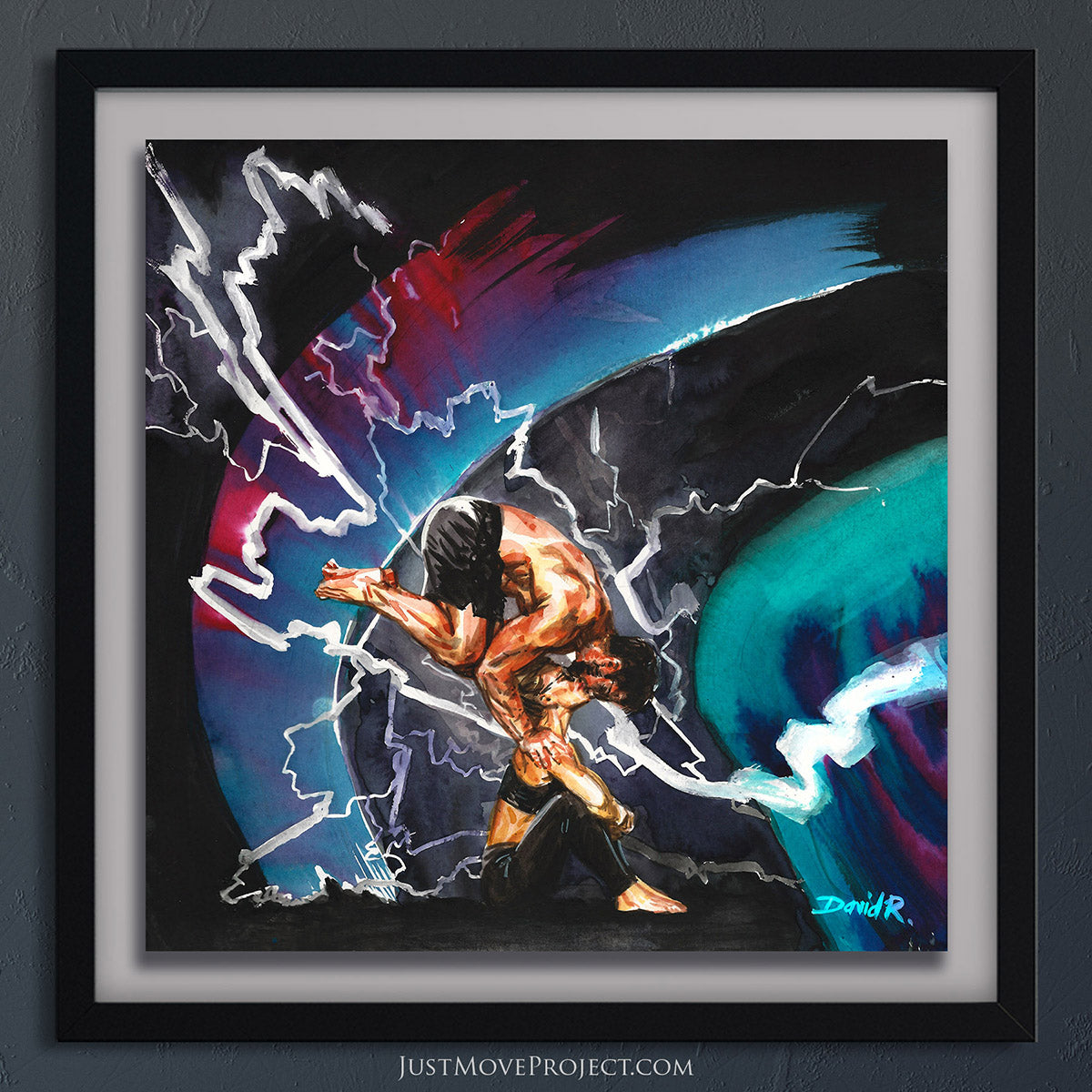 david roman art just move project 2 watercolour watercolor painting vibrant wall art home decor wall art framed canvas inspired by movement and athletes turquoise teal chelsey korus mike aidala power couple strong women