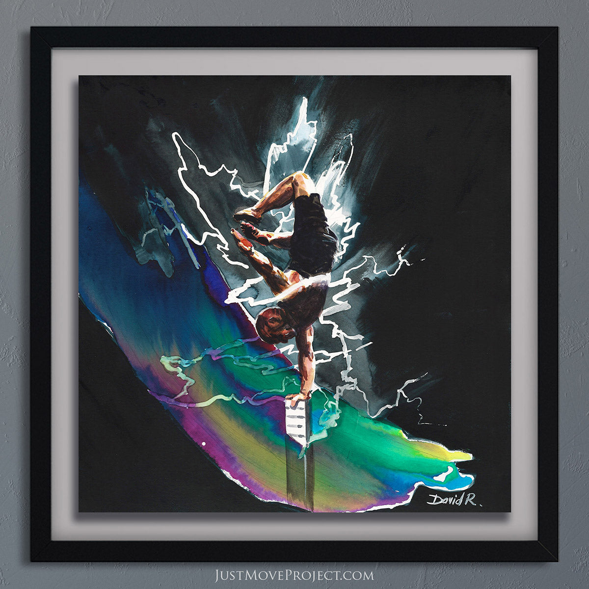 david roman art just move project 2 watercolour watercolor painting vibrant wall art home decor wall art framed canvas inspired by movement and athletes turquoise teal handstand handbalance balance