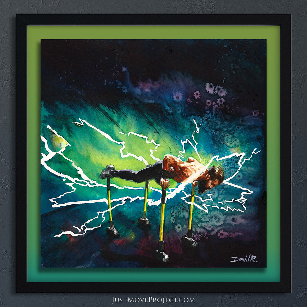 david roman art just move project 2 watercolour watercolor painting vibrant wall art home decor wall art framed canvas inspired by movement and athletes turquoise teal lime green travis horn turquoise thunder thunderbolt