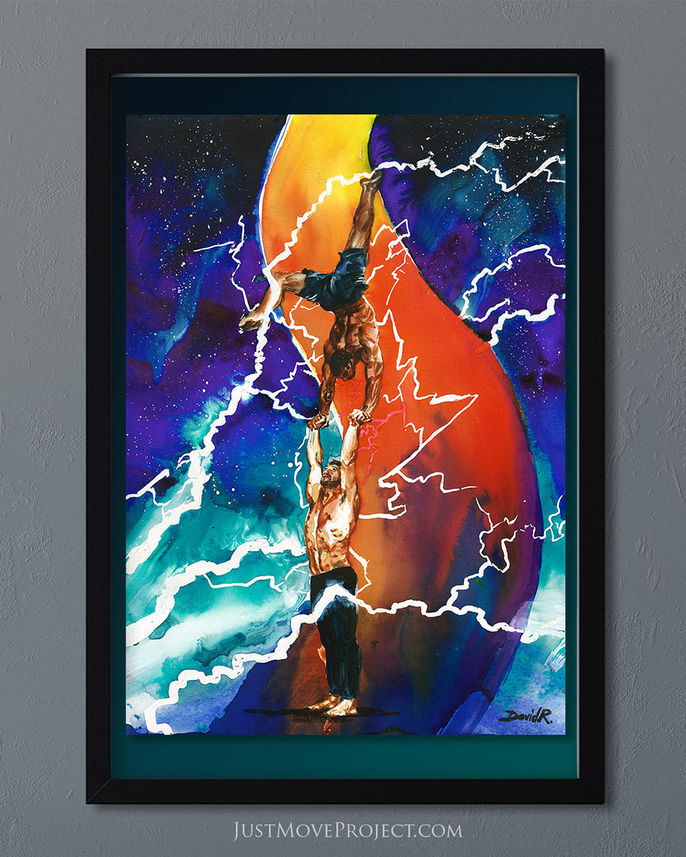 david roman art just move project 2 watercolour watercolor painting vibrant wall art home decor wall art framed canvas inspired by movement and athletes turquoise teal handbalance balance cool