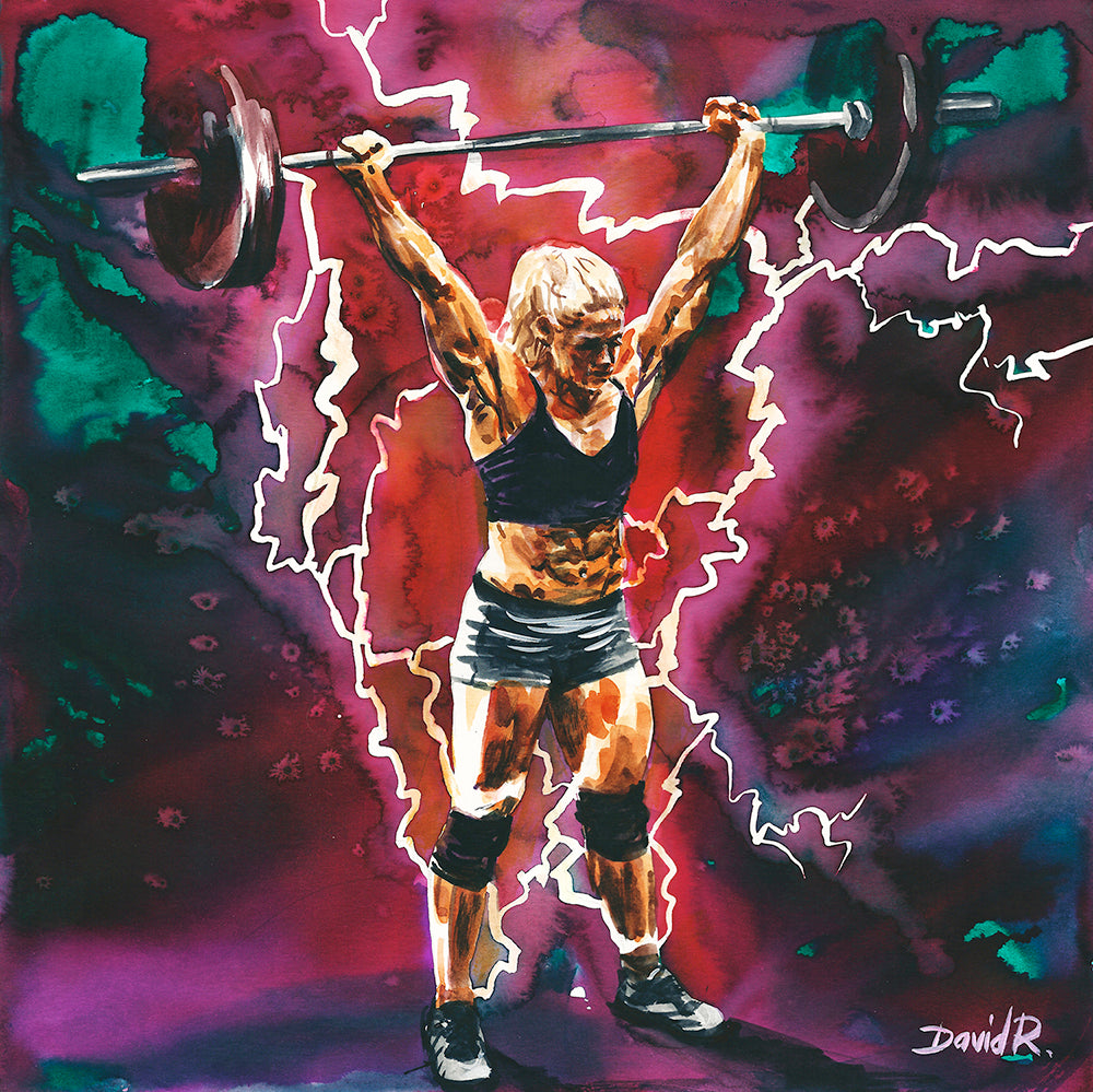 david roman art just move project 2 watercolour watercolor painting vibrant wall art home decor inspired by movement and crossfit athlete sara sigmundsdottir fittest woman on earth